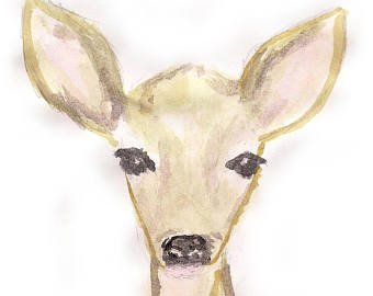340x270 Watercolor Fawn Etsy