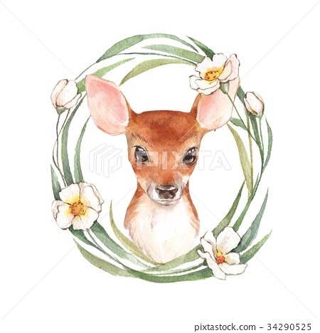 450x468 Baby Deer And Flowers. Cute Fawn. Watercolor