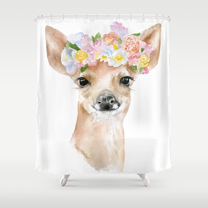 700x700 Deer Fawn Floral Watercolor Shower Curtain By Susanwindsor Society6