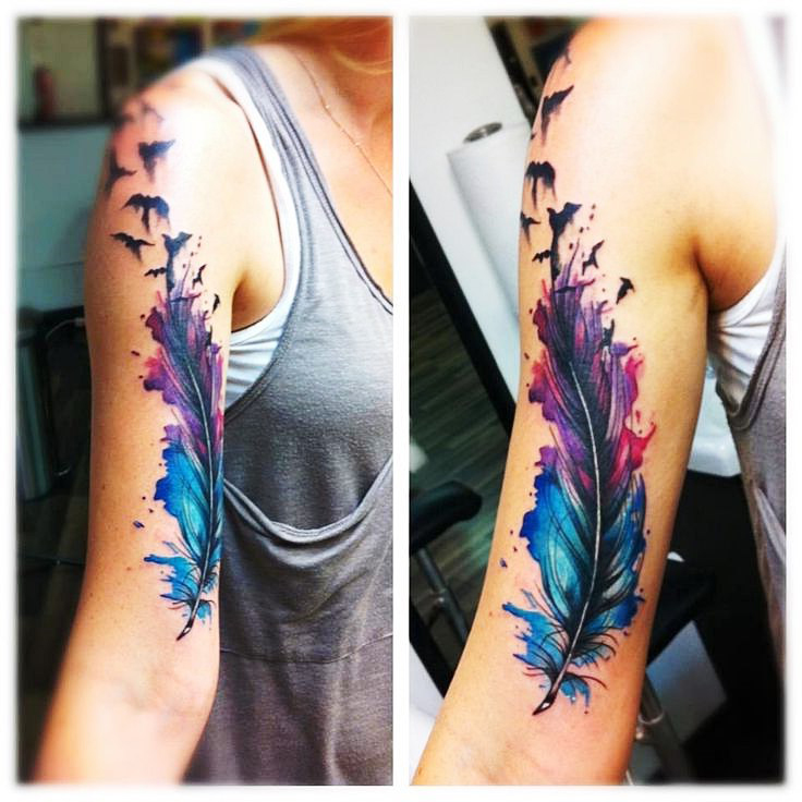 8f86c99957e8b Feather Watercolor Tattoo at GetDrawings.com | Free for personal use ...