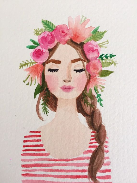 570x760 Flower Crown Girl Watercolor Painting Paintings Amp Other Artwork