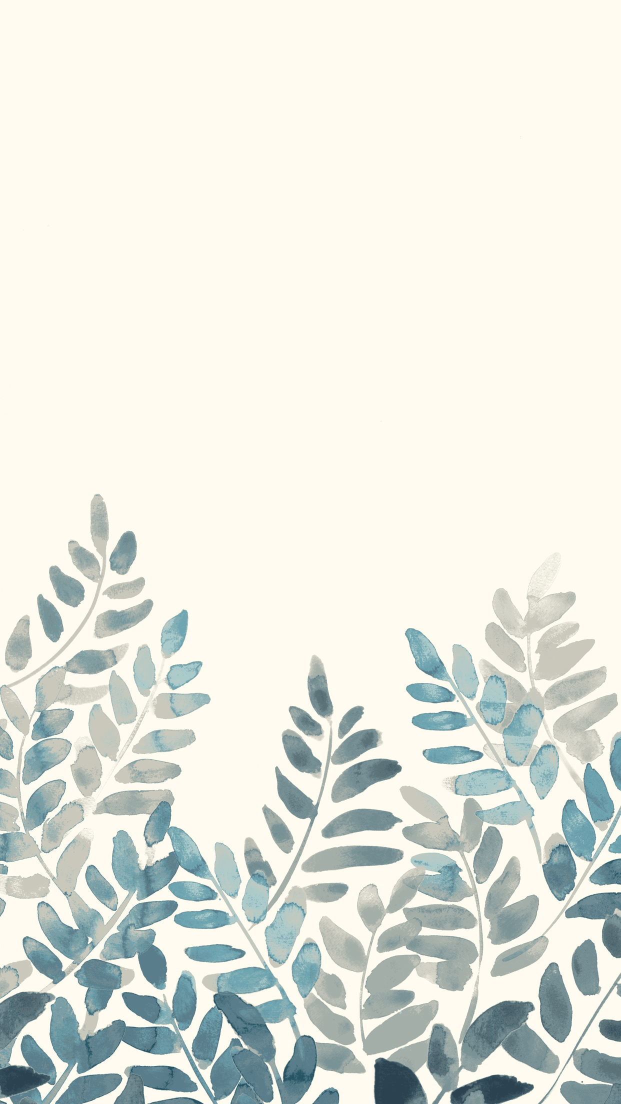 1242x2208 Free Watercolor Fern Mobile Wallpaper