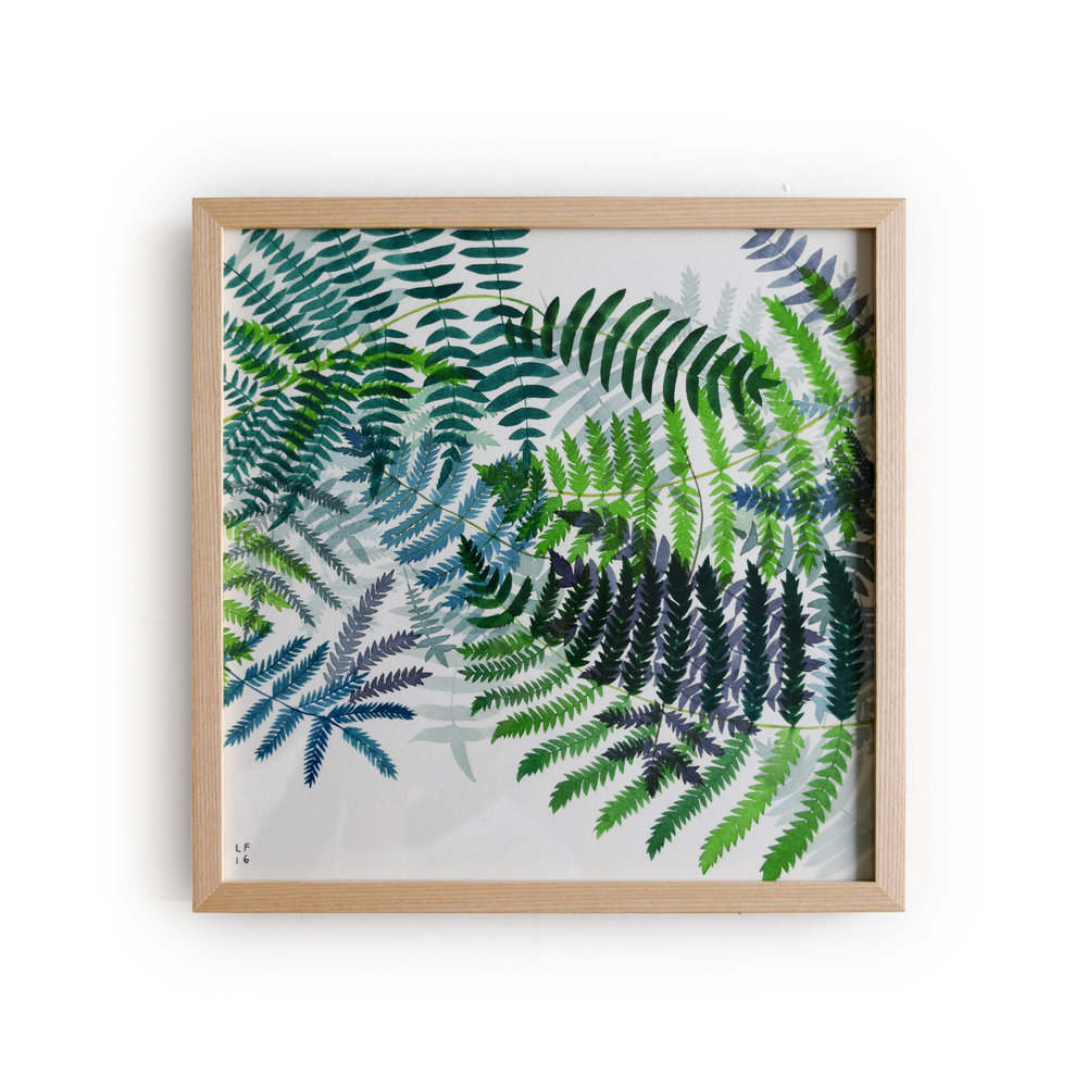 1000x1000 May We Fly Ferns Original Watercolor Painting