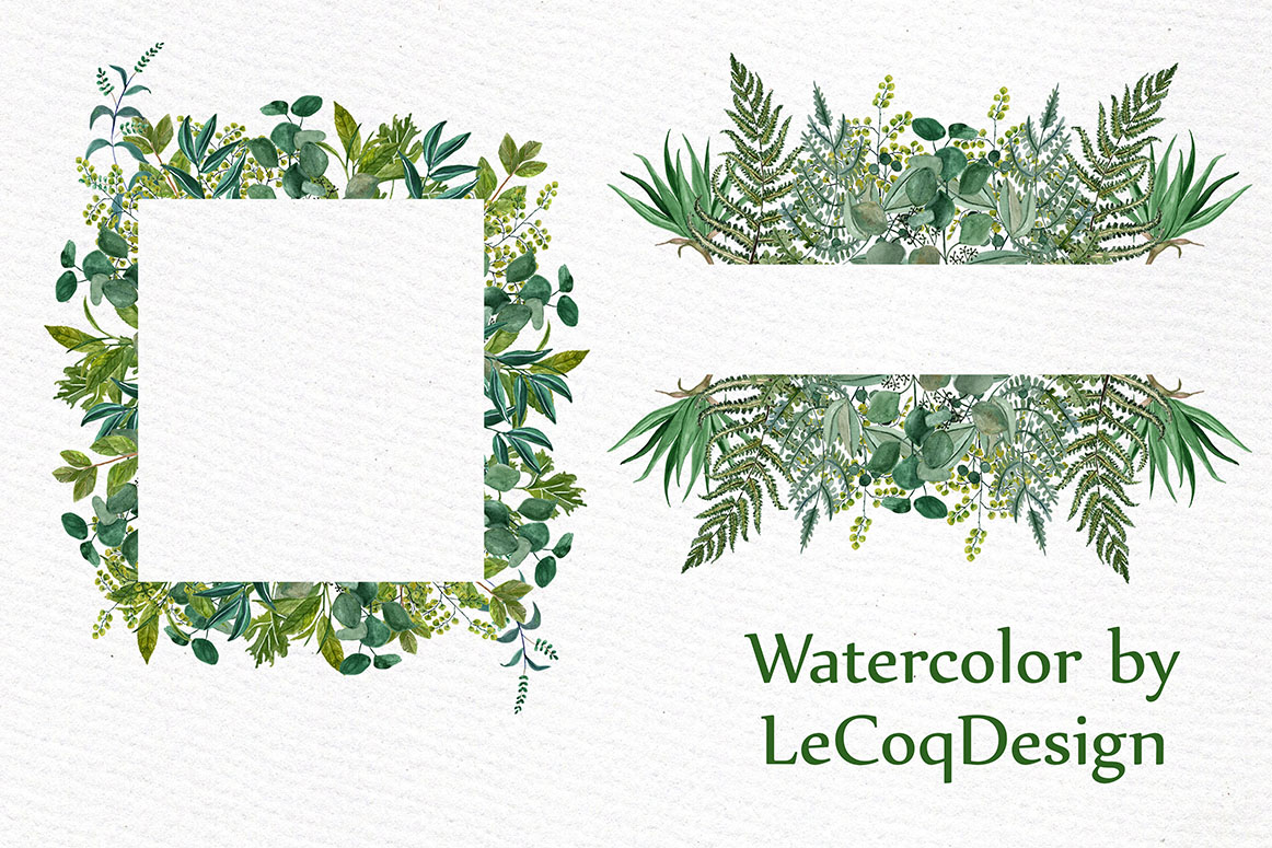 1162x775 Watercolor Fern Frames Clipart By Lecoqdesign
