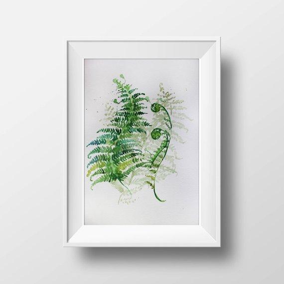 570x570 Watercolor Print Minimalism Art Fern Art Watercolor Art Etsy