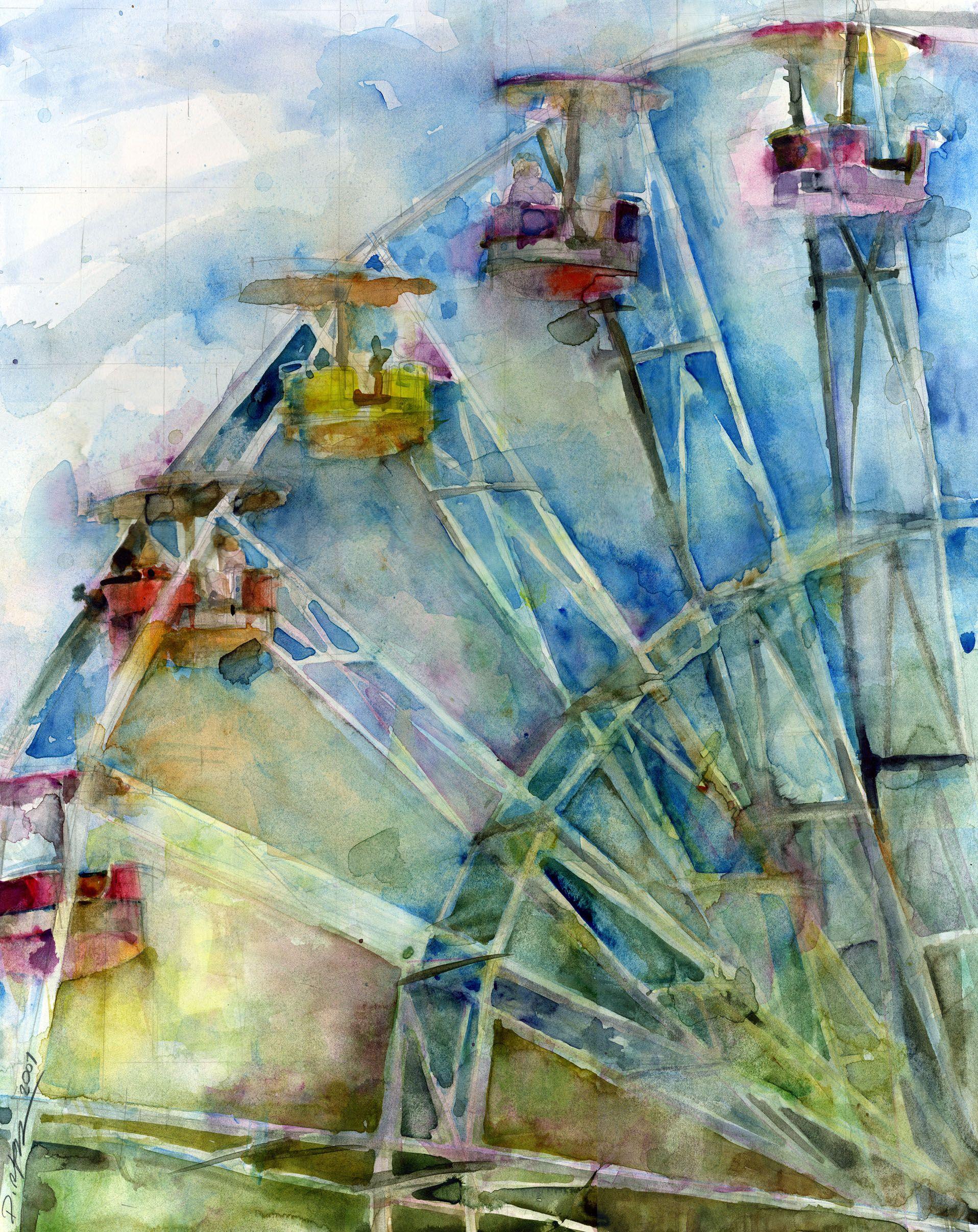 Ferris Wheel Watercolor