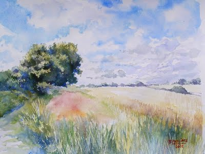 400x300 My French Easel Painting Grass In Watercolour