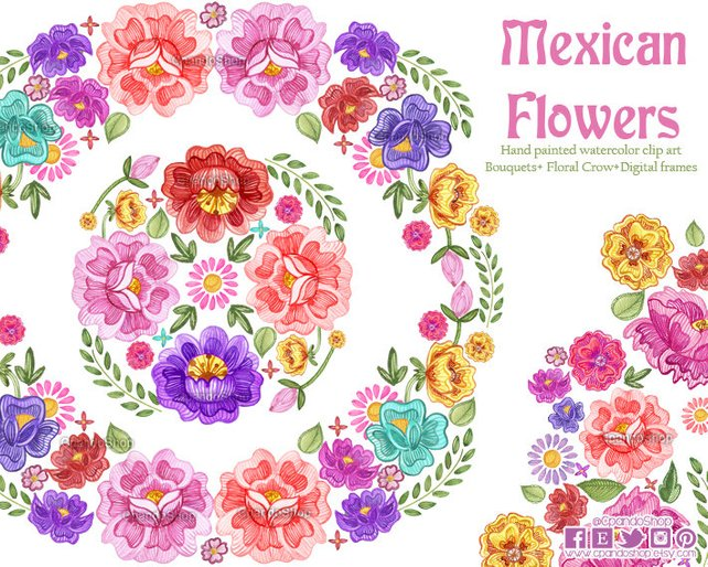 642x514 Fiesta Digital Clipart Spanish Mexican Clipart Mexican Etsy