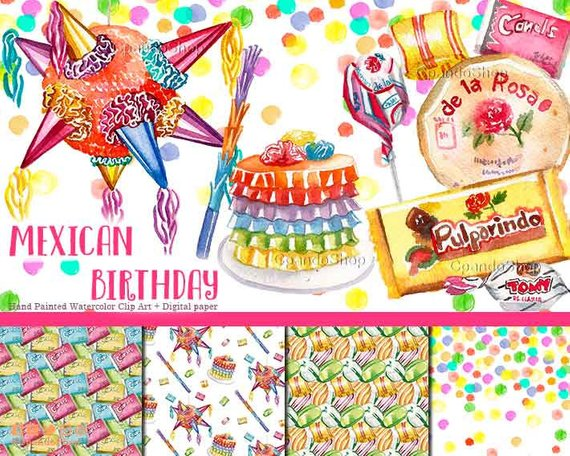 570x456 Mexican Fiesta Watercolor Clip Art For Mexican Invitation Etsy