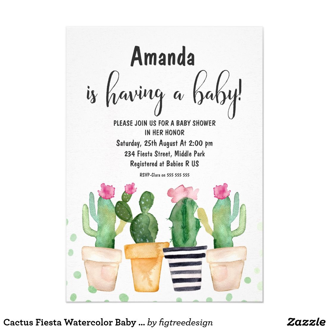 e84c4da1c864 1106x1106 Cactus Fiesta Watercolor Baby Shower Invitation   Oh Baby