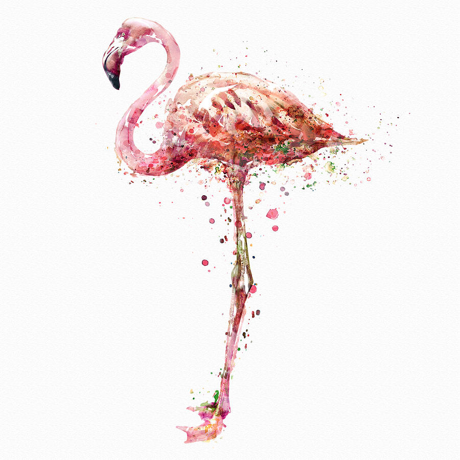 900x900 Flamingo Watercolor Painting Painting By Marian Voicu