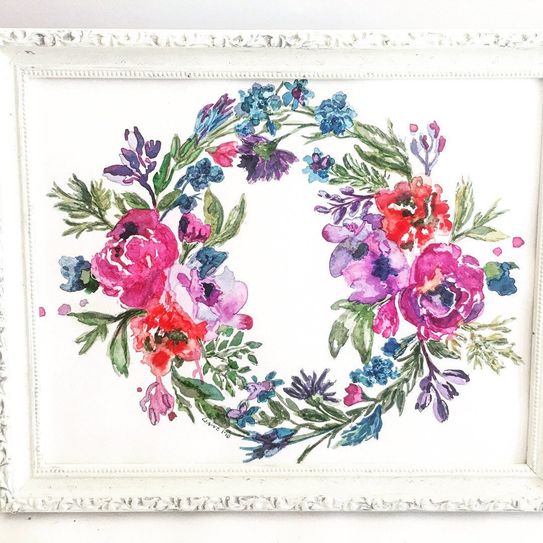 1080x1080 Floral Wreath, Watercolor Art, Floral Watercolor, Giclee