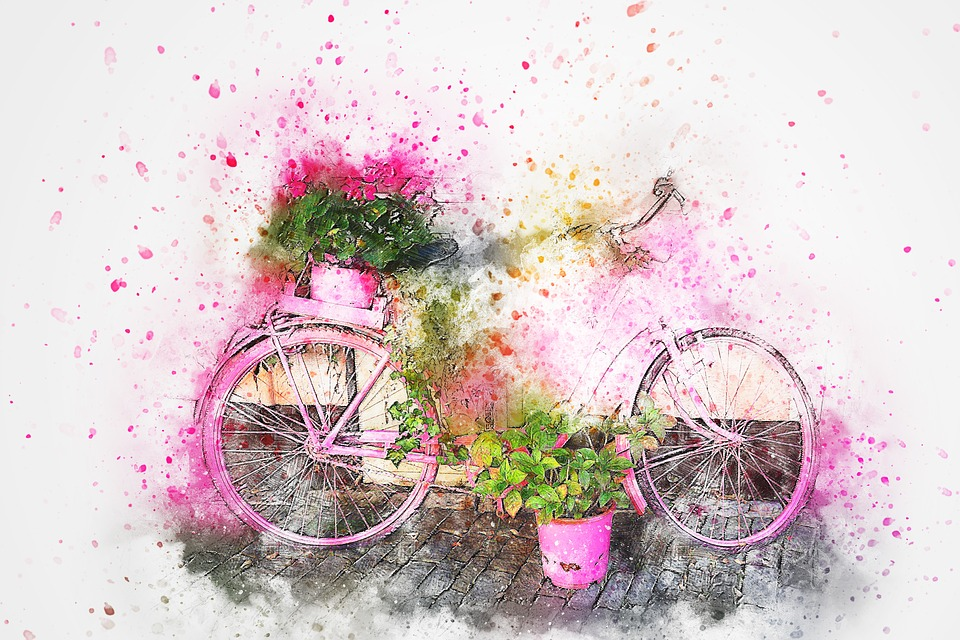 960x640 Free Photo Flowers Vintage Watercolor Abstract Art Bicycle