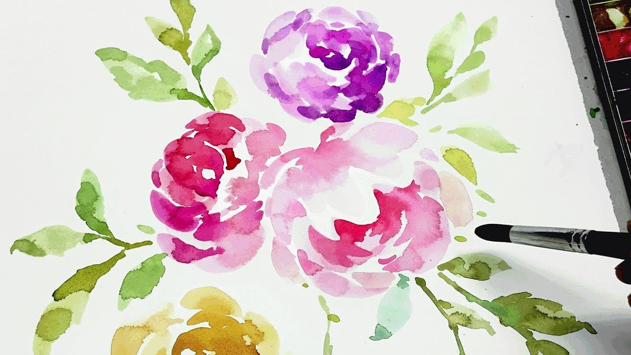 1280x720 Watercolor Flower Painting Step By Step Therapy, Relaxation