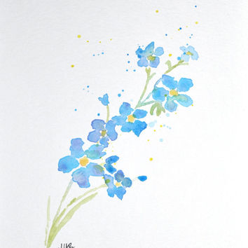 354x354 Watercolor Forget Me Not Flower Painting From Mabartstudio