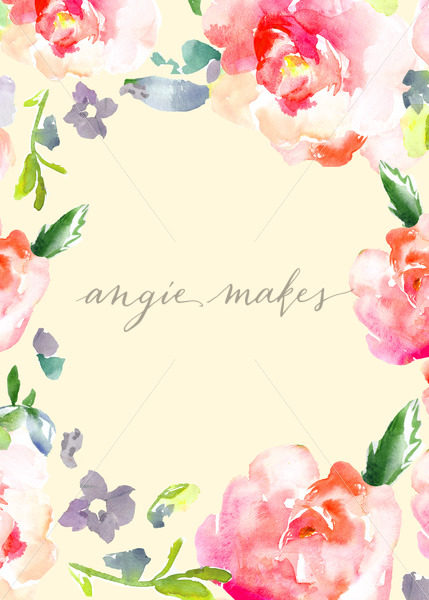 429x600 Cute Watercolor Flower Border Frame
