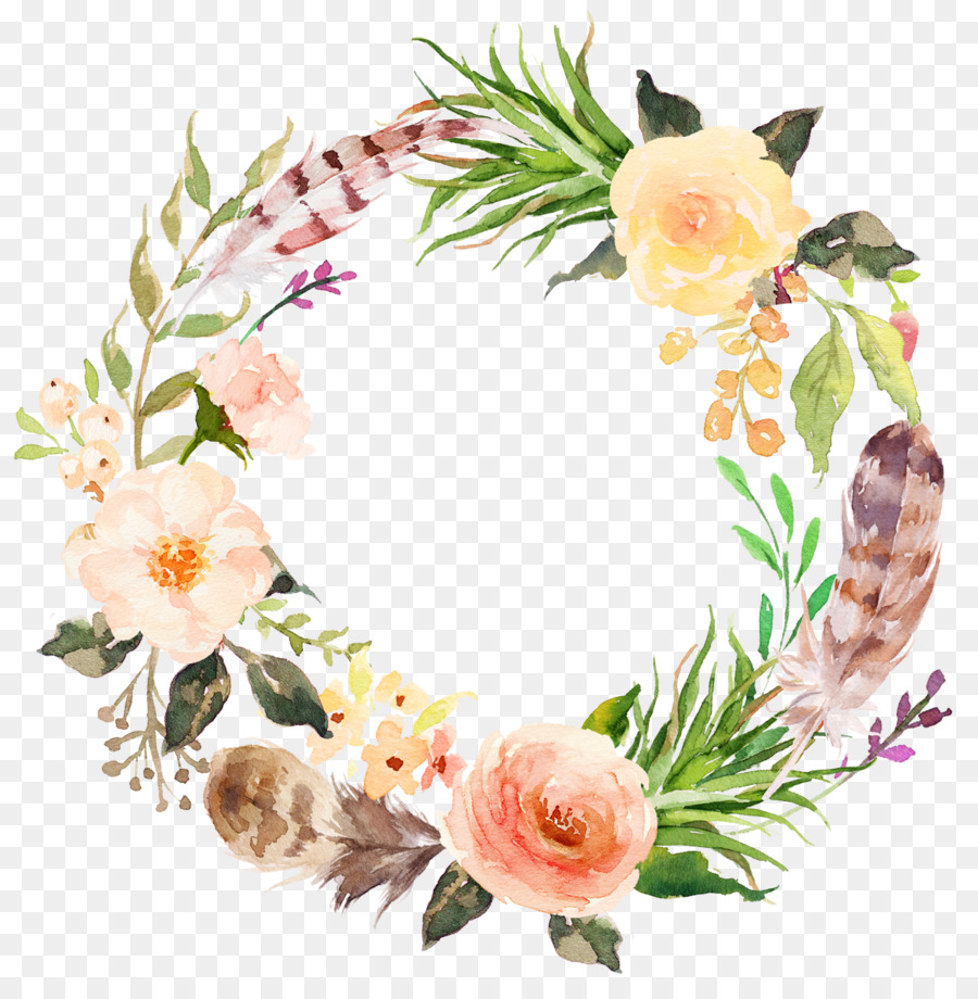 900x920 Download Flower Clip Art Watercolor Aesthetic Style Floral Wreath