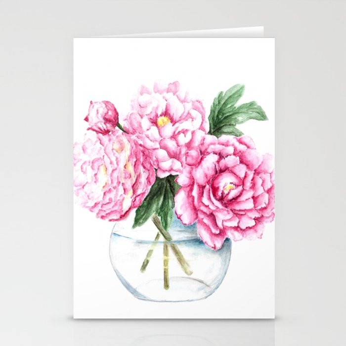 700x700 Pink Peony Painting, Watercolor Peony Art, Pink Flower Bouquet