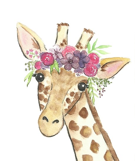 459x550 Giraffe Flower Crown Watercolor Posters By Christierenfro Redbubble