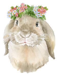 232x300 Bunny Flower Crown Watercolor By Susan Windsor Inktale