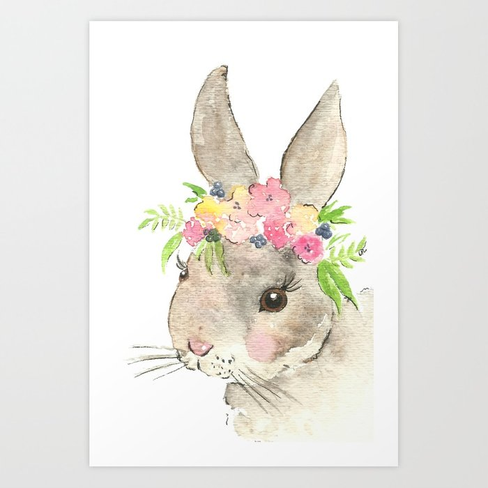 700x700 Bunny With Flower Crown Watercolor Art Print By