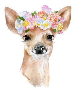 243x300 Deer Flower Crown Watercolor By Susan Windsor Inktale