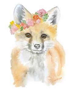 236x300 Fox Flower Crown Watercolor By Susan Windsor Inktale
