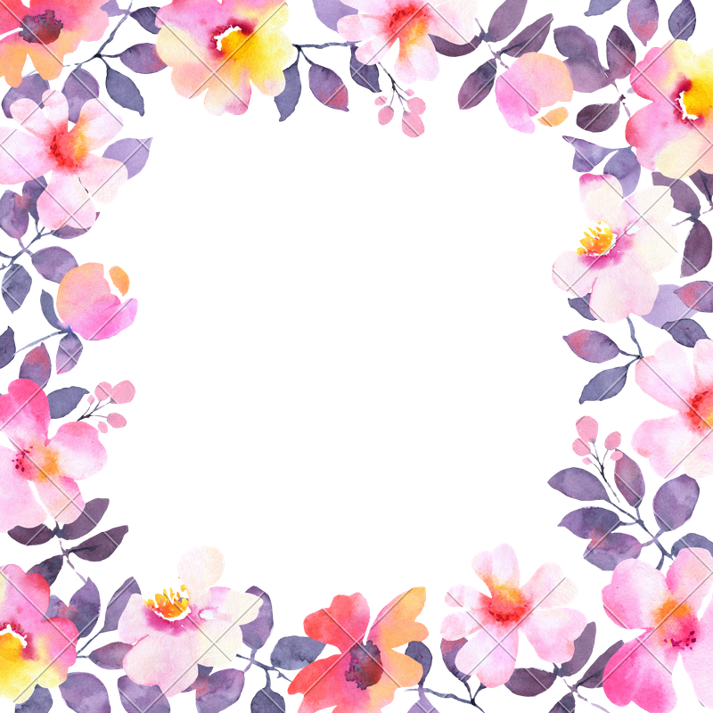 800x800 Modern Watercolor Flower Square Frame Background