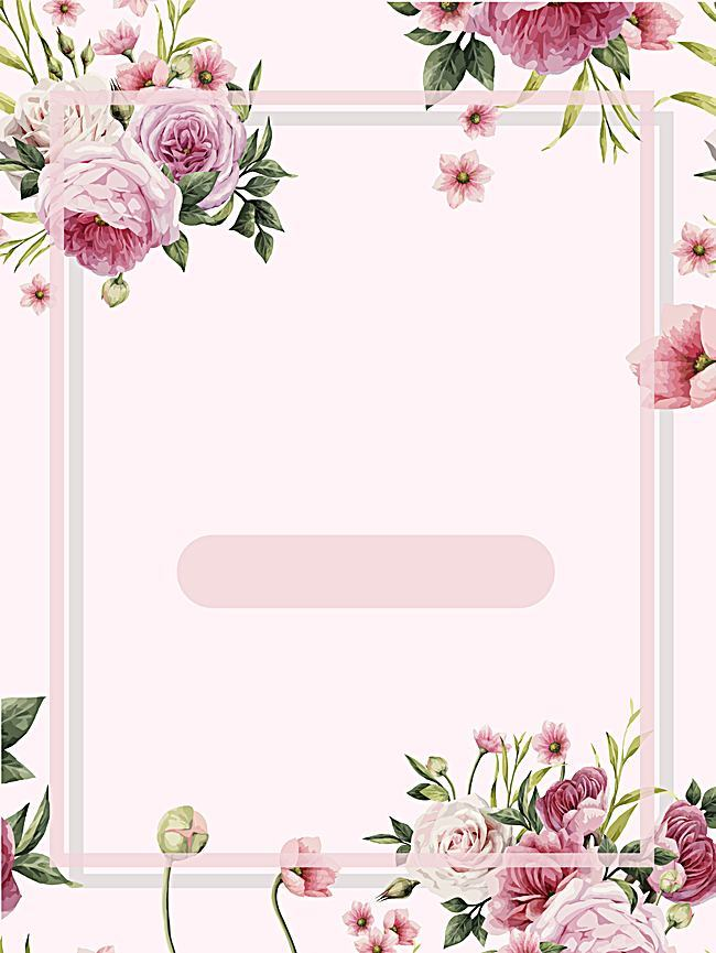 650x865 Pink Flowers Frame Watercolor Background, Pink, Romantic