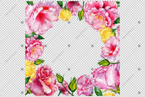 600x400 Pink Rose Flowers Frame Watercolor Png Watercolorpng