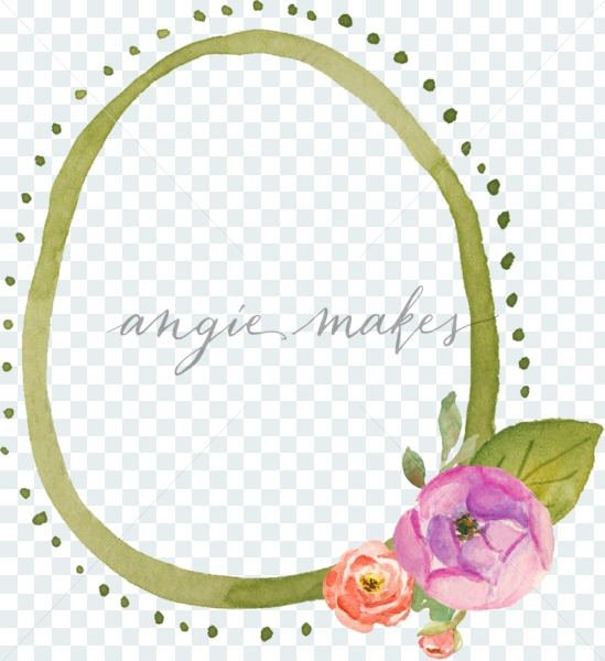 549x600 Cute, Simple Watercolor Flower Frame With Purple Ranunculus