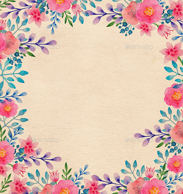 590x625 Watercolor Floral Frame By Artness Graphicriver
