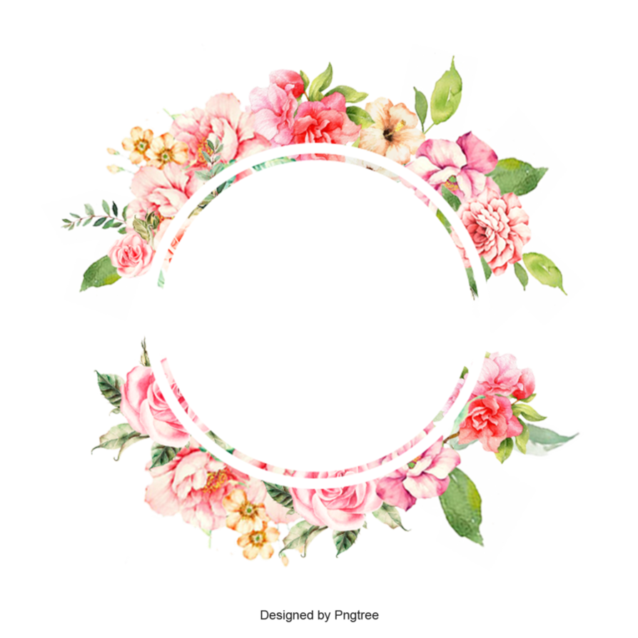 894x894 Watercolor Flower Frame Border By Pngtree