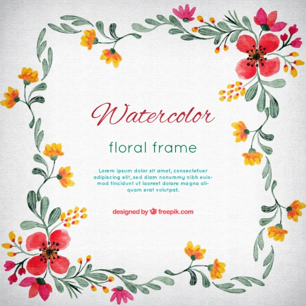 626x626 Watercolor Flower Frame Vector Free Download