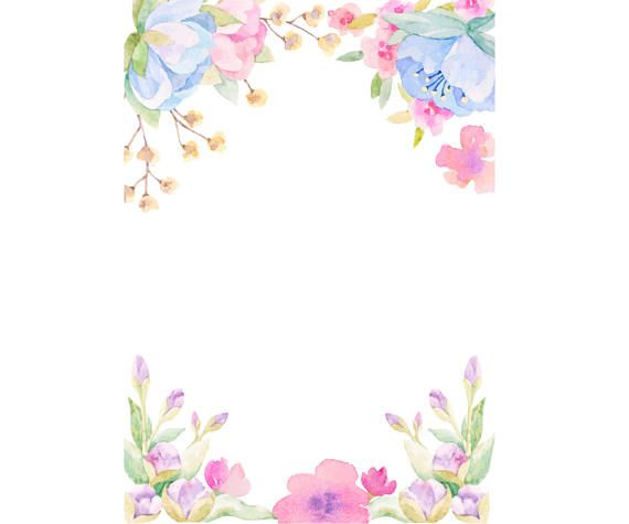 570x475 Watercolour Flower Frame Background Clip Art Graphic Design 4