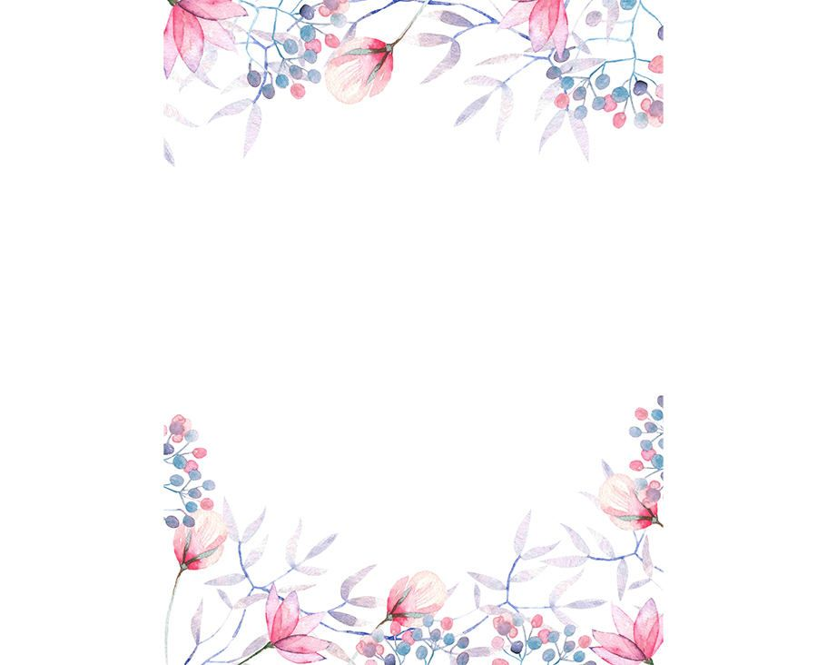 900x732 Watercolour Flower Frame Background Clip Art Graphic Design