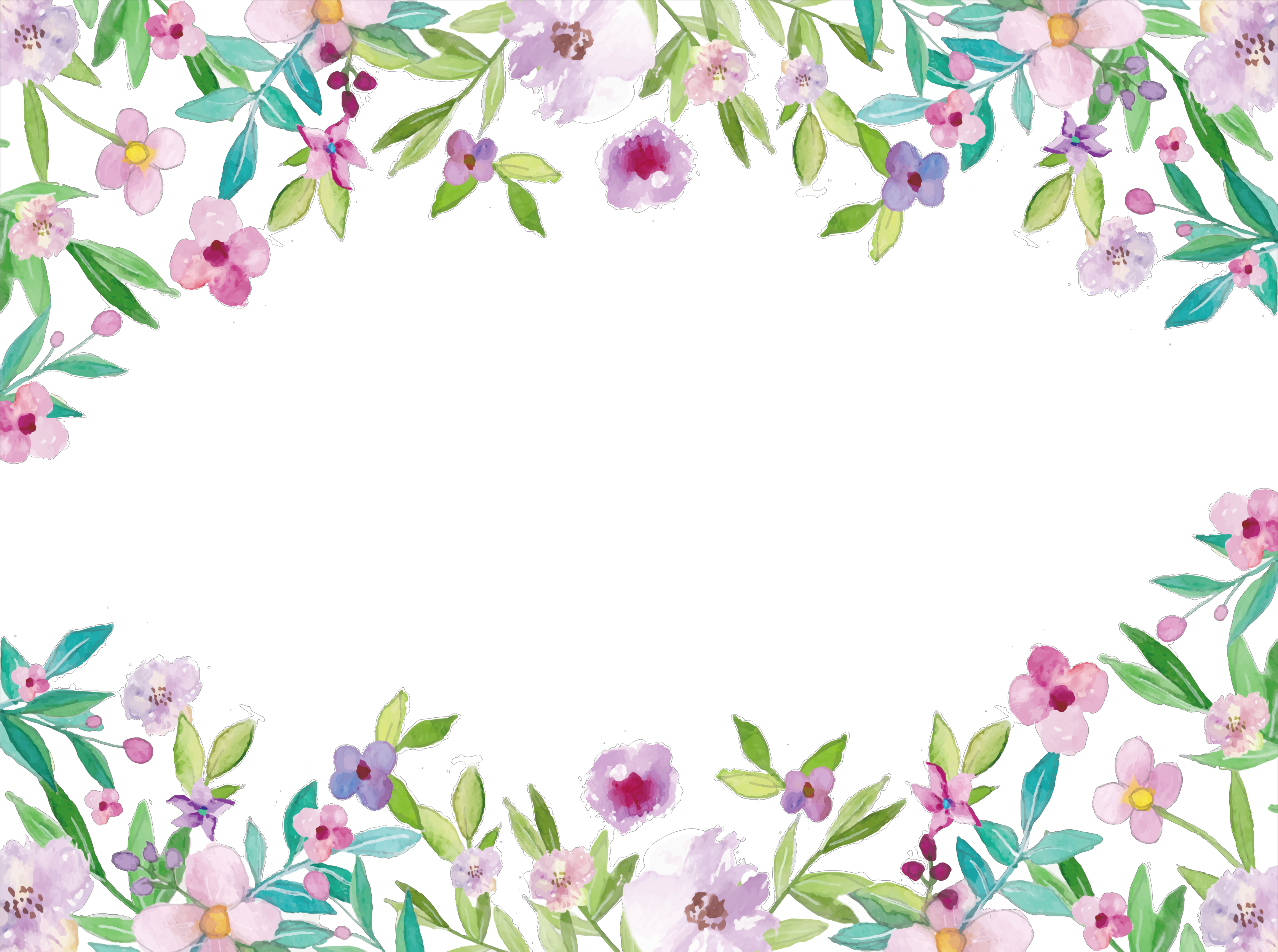3356x2499 Ftestickers Watercolor Flowers Frame Borders