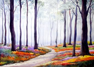 375x268 Flower Garden Amp Winter Forest Watercolor On Paper Painting By