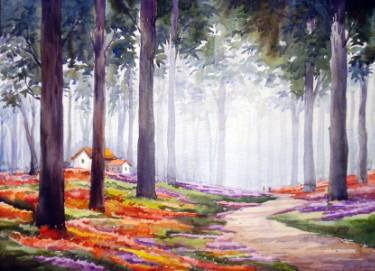375x271 Flower Garden Inside A Forest Watercolor On Paper Painting