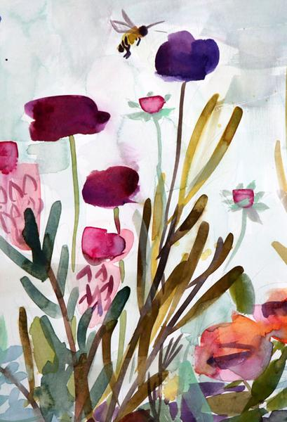 409x600 Flower Garden With Bee Original Watercolor Painting By Angela