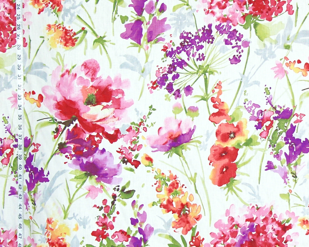 1200x960 Flower Garden Fabric Pink Peony Purple Orange Watercolor Floral