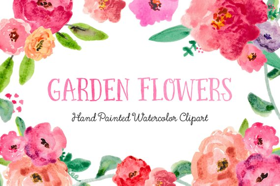570x379 Garden Flowers Hand Painted Watercolor Clipart Clip Art Etsy