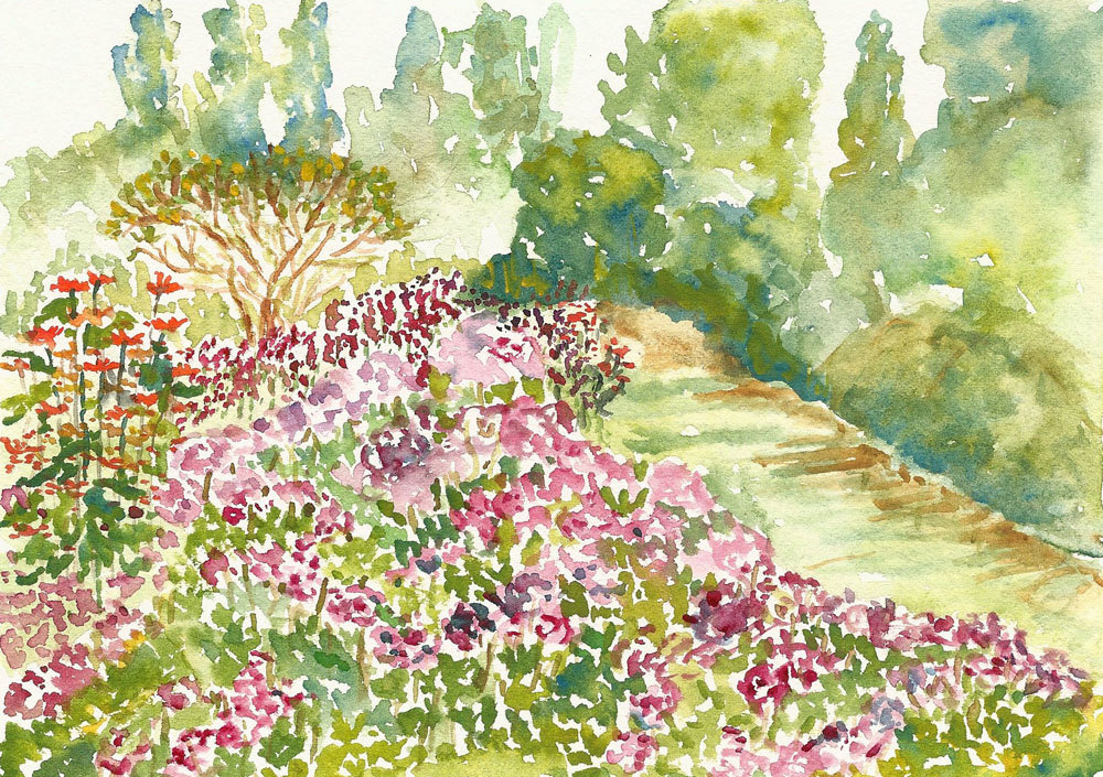 1000x705 Garden Watercolor Clubbok Tower Gardens