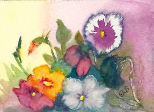 300x219 Aceo Miniature Original Watercolor Art Card By Eileen Flowers