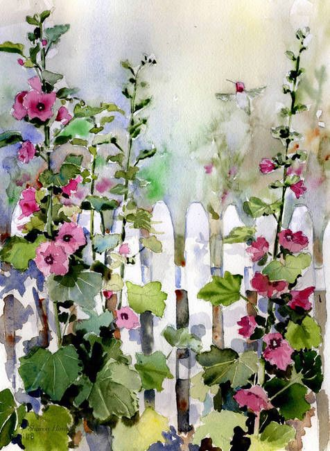 476x650 Hollyhock Cottage Watercolors Hollyhock, Garden