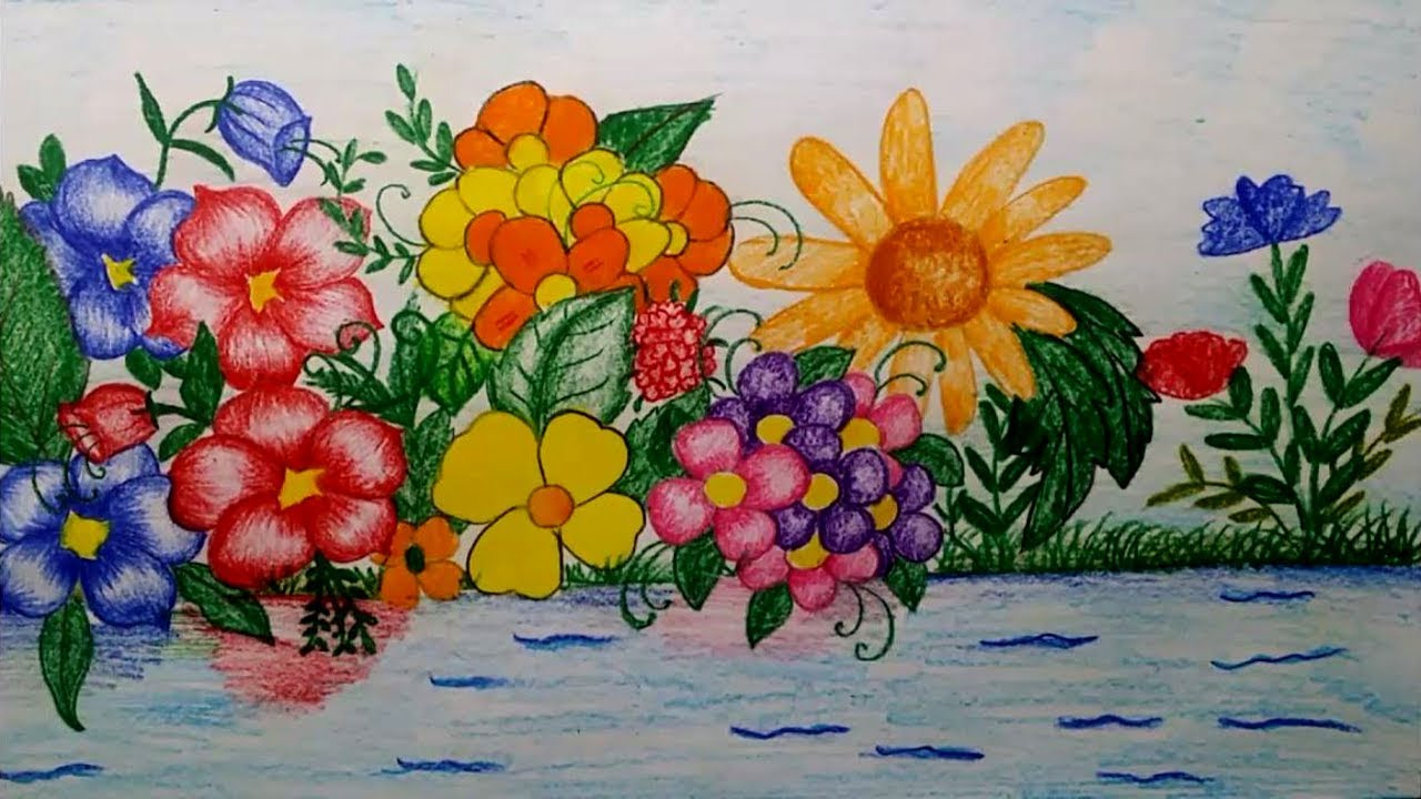 1280x720 How To Draw A Flower Garden By Using Watercolour Pencils
