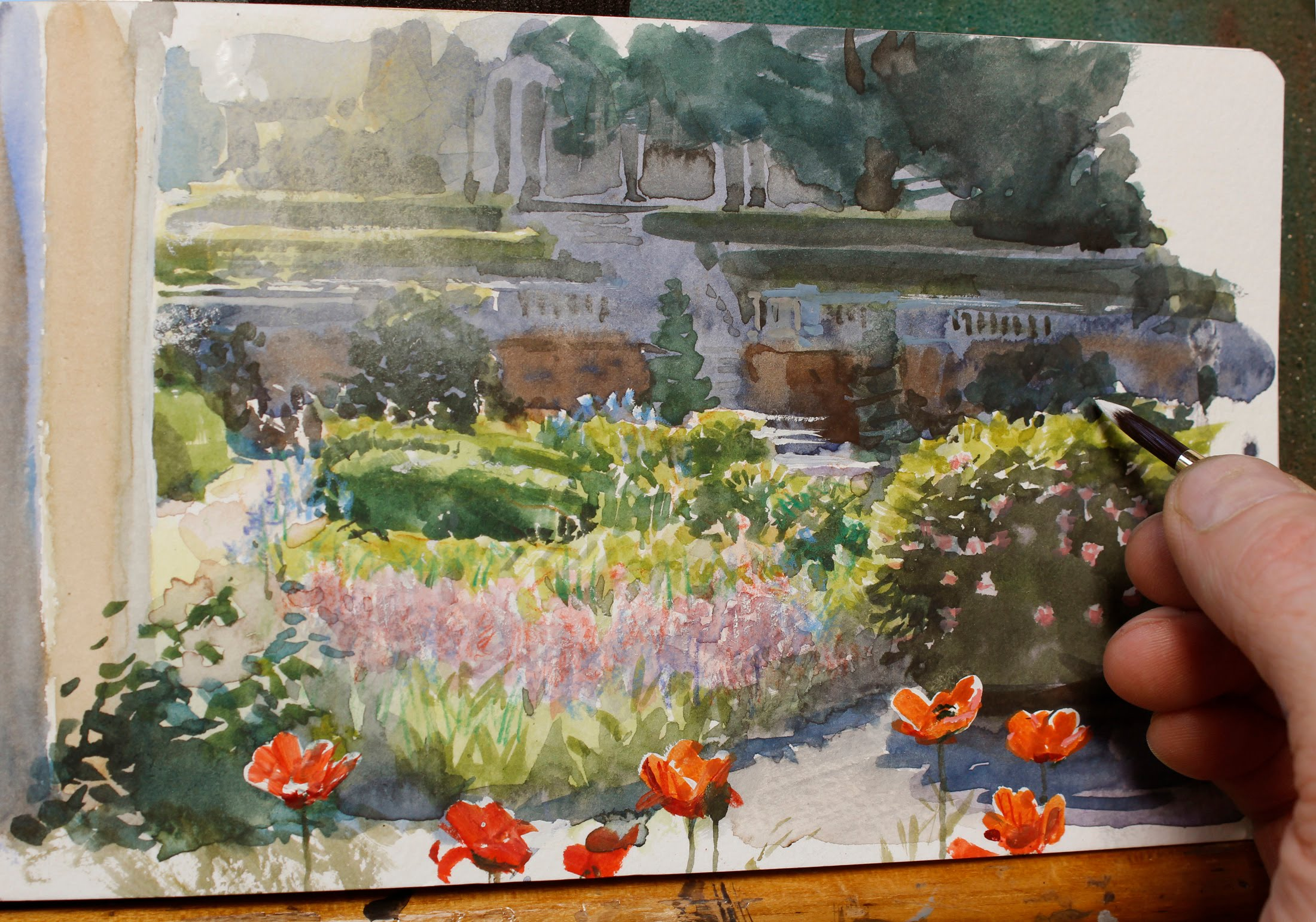2200x1541 Painting A Flower Garden In Watercolor