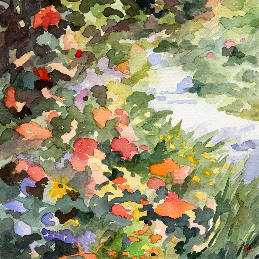 900x900 Path Monets Garden Watercolor Paintings Of France Painting By