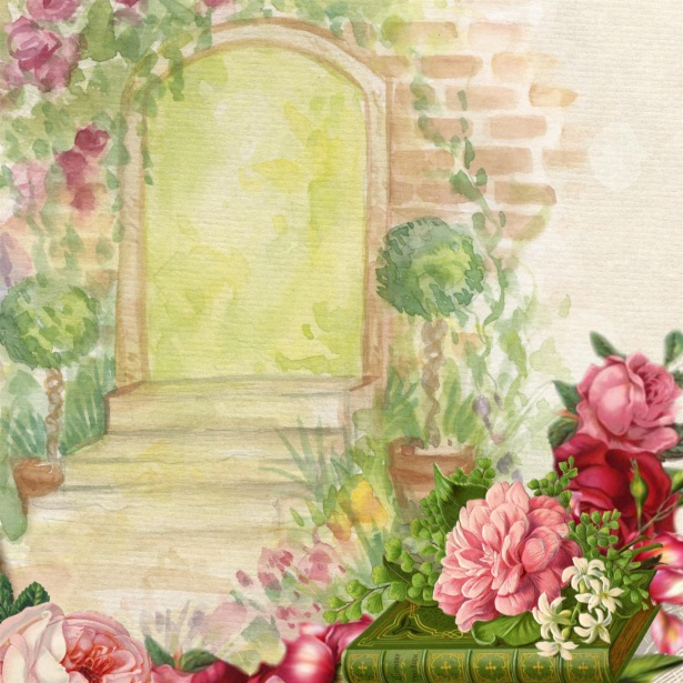 615x615 Background Watercolor Garden Flower Free Stock Photo