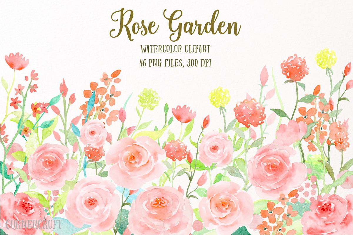 1200x800 Watercolor Flower Collection Rose Garden, Watercolor Clipart